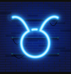blue shining cosmic neon zodiac taurus symbol on vector image