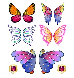 Butterfly colored gem wings 02 vector image