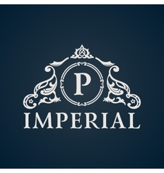 Calligraphic Vintage emblem Imperial art vector