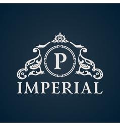 Calligraphic vintage emblem imperial art vector