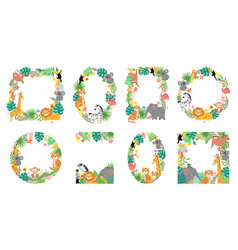 Cartoon animals frame jungle animal in tropical vector