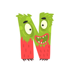 Cartoon character monster letter n vector