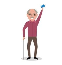 Cartoon grandfather got plastic credit card vector