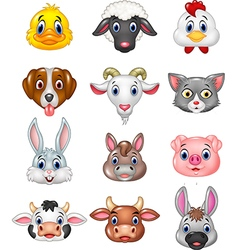 Cartoon happy animal head collection vector