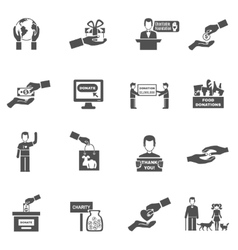 Charity Black White Icons Set vector image