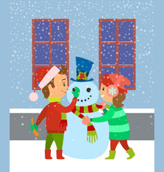 children building snowman kids having fun winter vector image