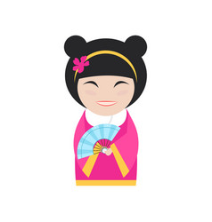 Chinese woman on white vector
