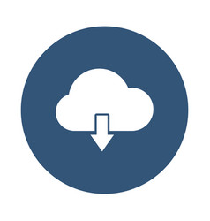 Cloud with dowload arrow icon block style vector