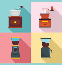 coffee grinder icon set flat style vector image