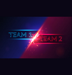 colorful banner with team 1 versus team 2 battle vector image