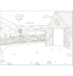 Coloring book farm cartoon educational artwork vector