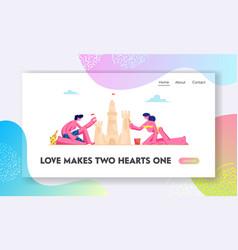 couple having leisure on sandy beach website vector image