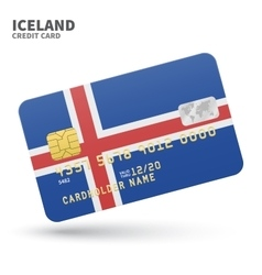 Credit card with Iceland flag background for bank vector