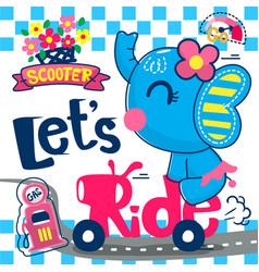 cute cartoon elephant girl on scooter vector image