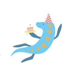 cute elasmosaurus dinosaur in party hat funny vector image