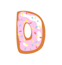 d letter in the shape of sweet glazed cookie vector image