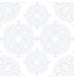 Delicate crochet lace round ornament vector