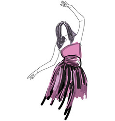 drawn dancing woman in evening dress vector image
