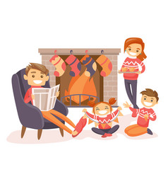 family celebrating christmas by the fireplace vector image