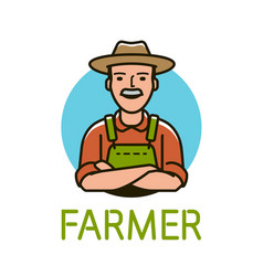 farmer in hat logo or label agriculture farm vector image