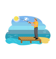 Fish catching man on shore vector