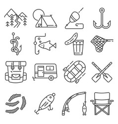 fishing gray line icon set vector image