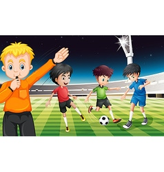 Football players playing ball at the stadium vector image