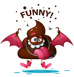 funny cartoon - shit monster characters vector image