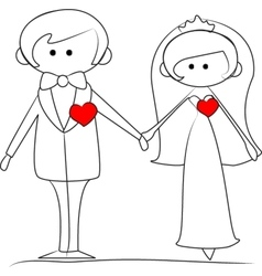 Groom and bride with hearts vector
