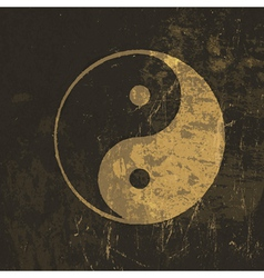 Grunge yin yang symbol vector