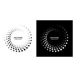 halftone circle dots frame circle dots logo vector image