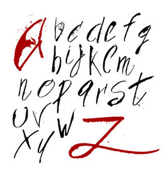 hand drawn alphabet in calligraphy brush vector image
