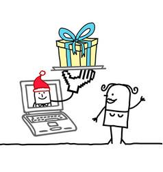 Hand drawn cartoon woman with laptop and santa vector