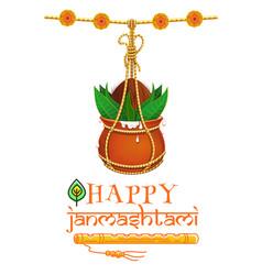 Happy krishna janmashtami design vector