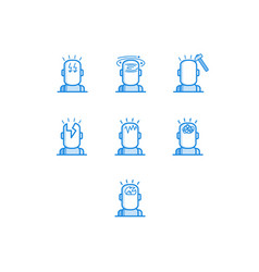 headache types outline icons set - various symbols vector image