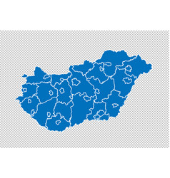 hungary map - high detailed blue map with vector image