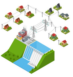 Hydroelectricity power station isometric view vector