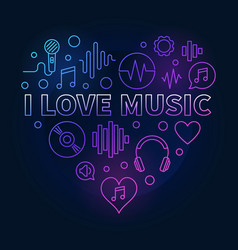 I love music heart - colored linear vector