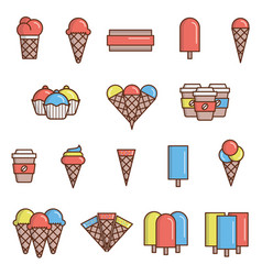 Ice-cream icons vector