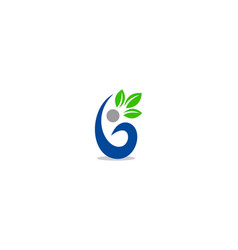 initial letter b with leaf logo vector image