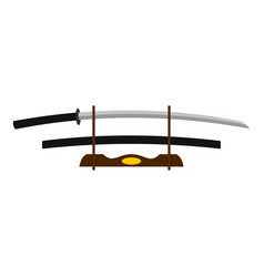 Katana on wooden stand icon isolated vector