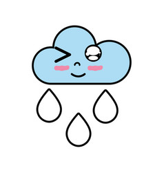 Kawaii nice funny cloud raining vector