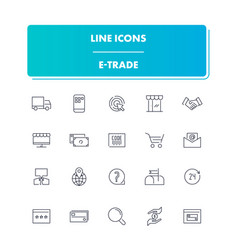 line icons set e-trade vector image
