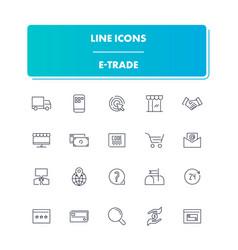 line icons set e-trade vector image