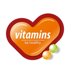 Logo orange check mark vitamins vector