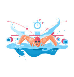 Muscular swimmer in competition swimming pool vector