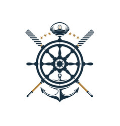 nautical badge ship wheel anchor oar captains hat vector image