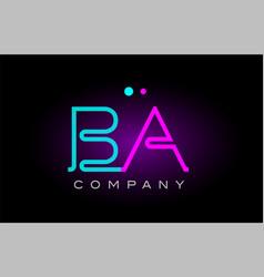 Neon lights alphabet ba b a letter logo icon vector