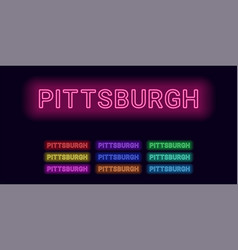 Neon name of pittsburgh city vector