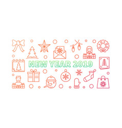 new year 2019 creative horizontal banner vector image